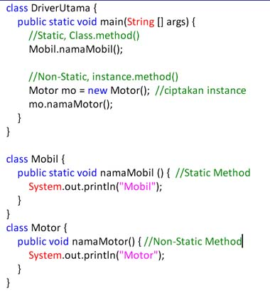 static, non static, method java